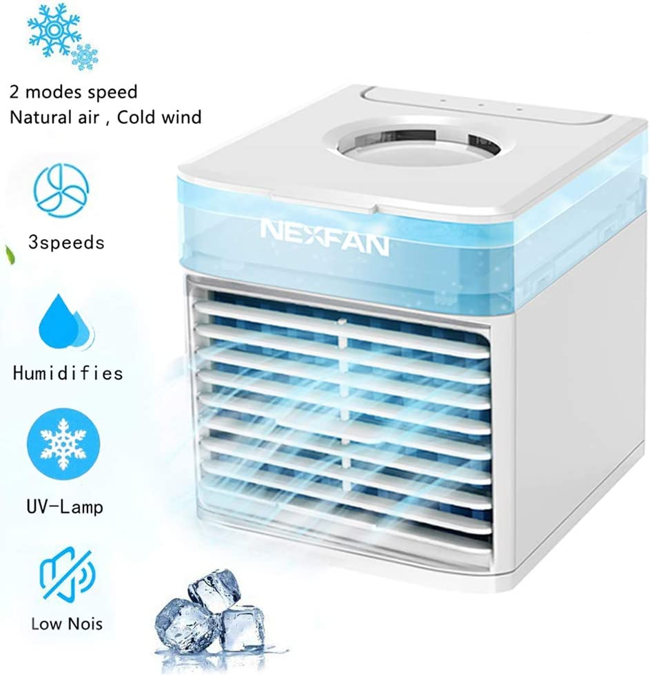 NEXFAN Portable Air Coole USB Desk Fan with 3 Fan Speeds, Evaporative Air Cooler for Home & Office, Air Humidifier, 7 Light Colors- Mini Air Conditioner Room Cooler with in LED Night Ligh (White)
