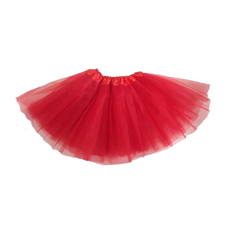 Girls Modern Ballet Dress Fairy Tutu Skirt red SODIAL R