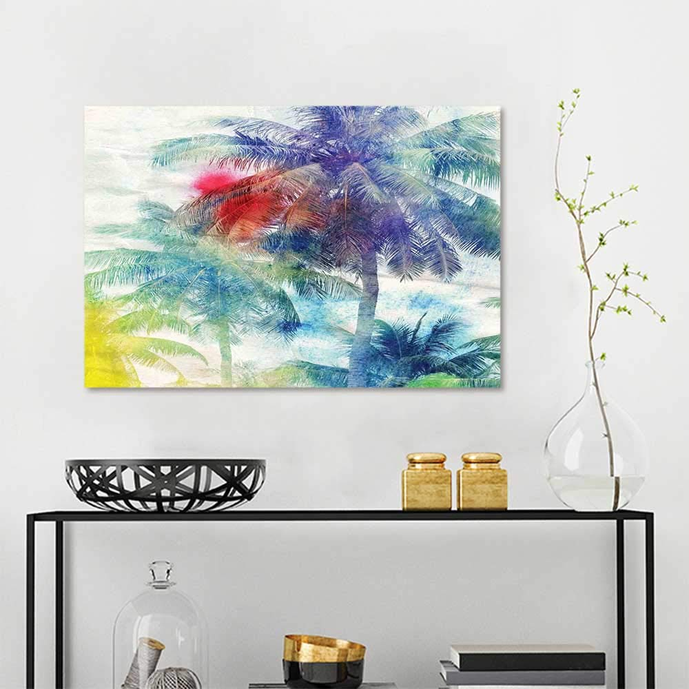 Amazon Com Sunset Glow Wall Painting Prints Palm Tree Retro