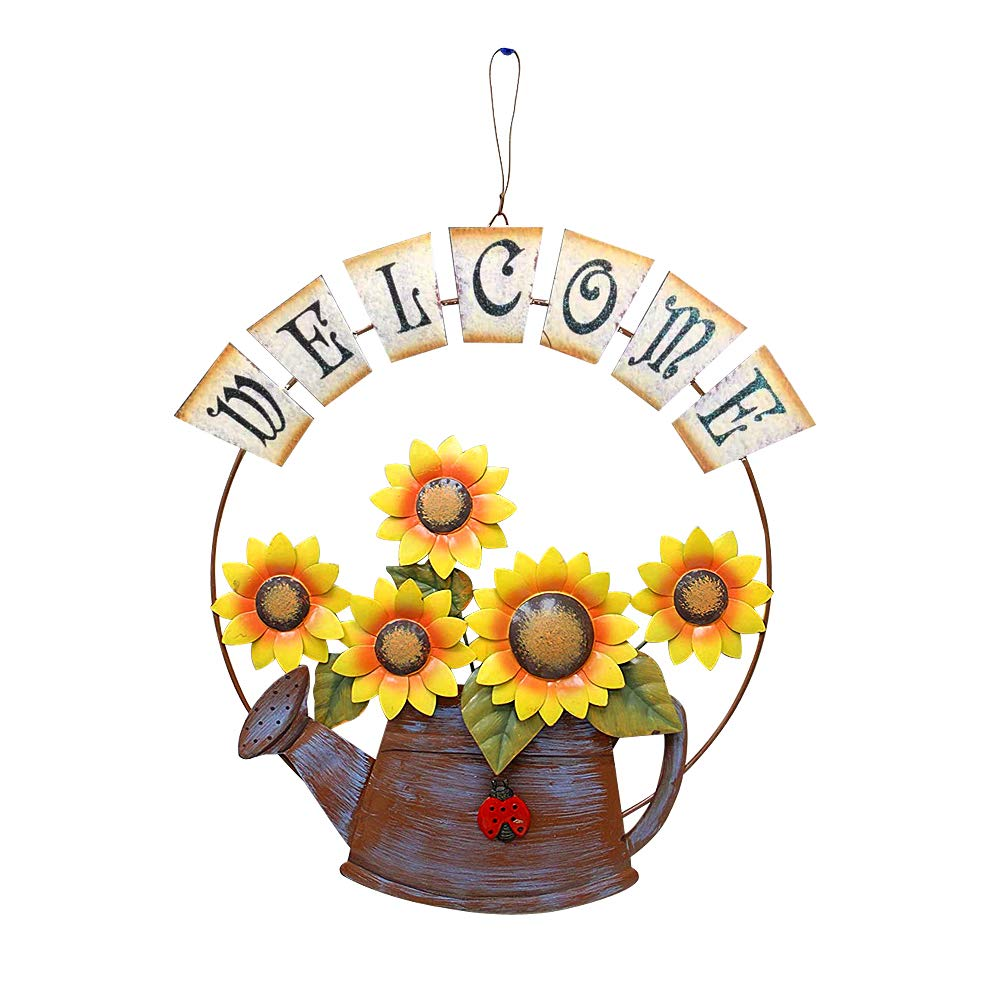 E-view Sunflower Welcome Sign Decorative Vintage Metal Wall Hanging Home Garden Decor - Welcome Plaque for Front Door, Garden Themed Sunflower & Can