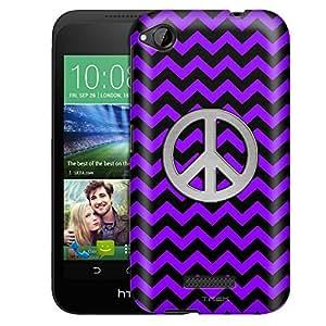 HTC Desire 320 Case, Slim Fit Snap On Cover by Trek Peace on Chevron Zig Zag Purple Black Case