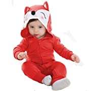 Tonwhar Unisex Baby Cartoon Animal Hooded Zip-up Sweatshirt Jumpsuit (80(ages 6-12 months), red fox)