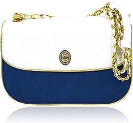 a493ceaf0ad9 Valentino Orlandi Italian Designer White   Royal Blue Leather Crossbody Bag
