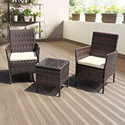 Garden and Outdoor DIMAR GARDEN 3 Pieces Outdoor Patio Furniture Set Porch Conversation Rattan Wicker Chairs with Coffee Table (Mix Brown) outdoor lounge furniture