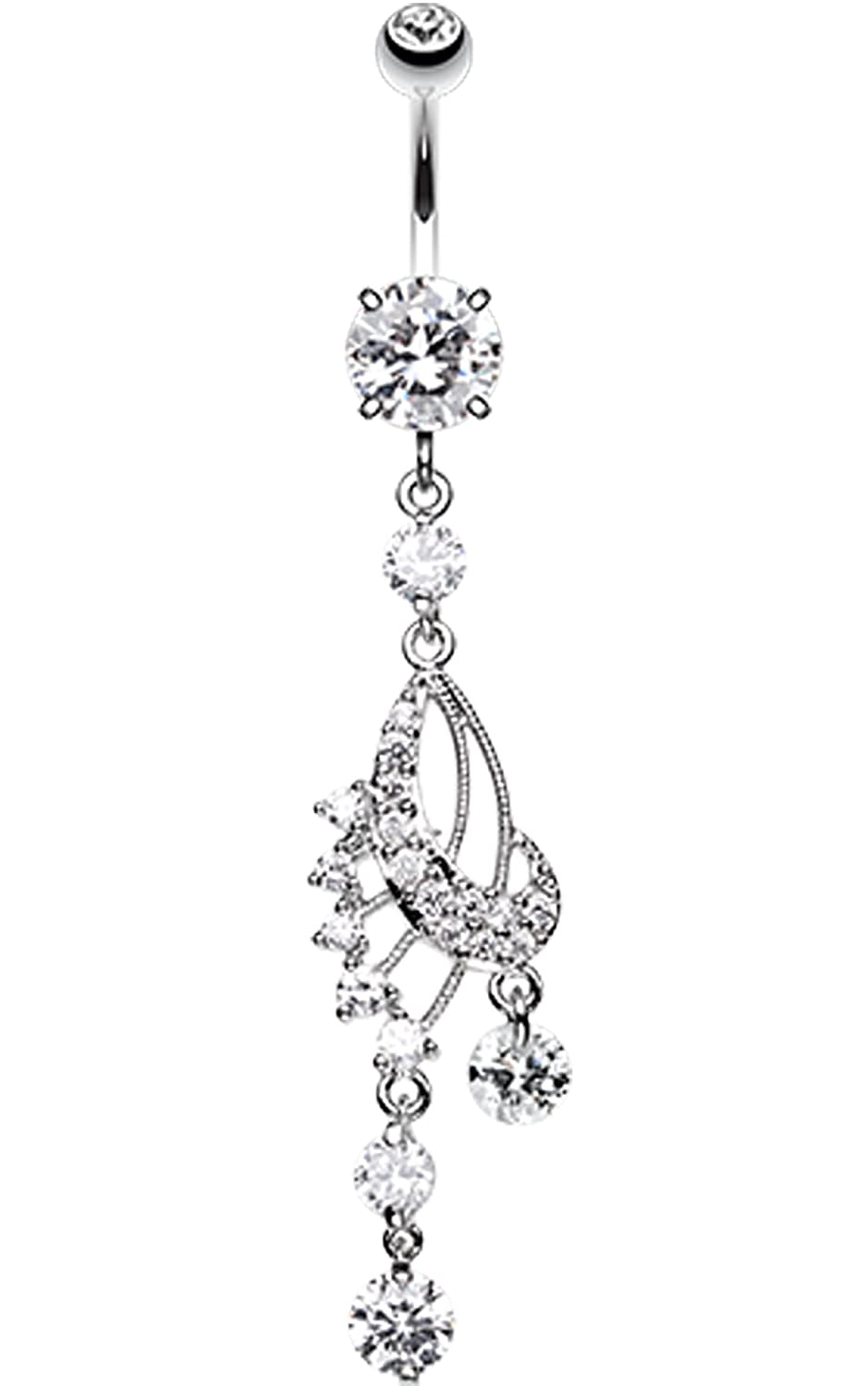1.6mm 14 GA - Sold Individually Dazzling Harp Elegance Belly Button Ring