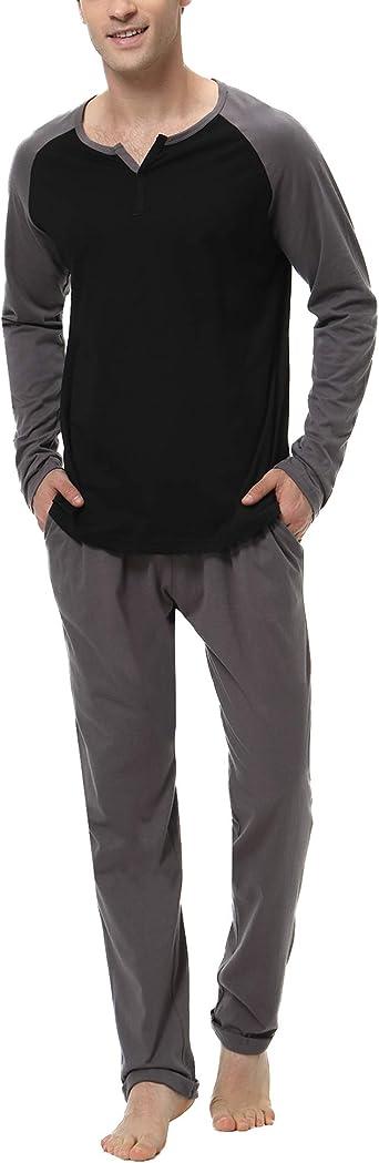 New Men/'s 100/% Cotton Sleepwear Pajamas Set Long Sleeve Home Clothes L-3XL #L6