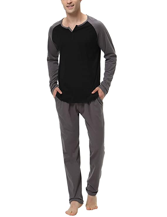 Aiboria Men Pajama Set Cotton Long Sleeve Top and Bottom Soft Sleepwear Lounge Set best men's winter pajamas