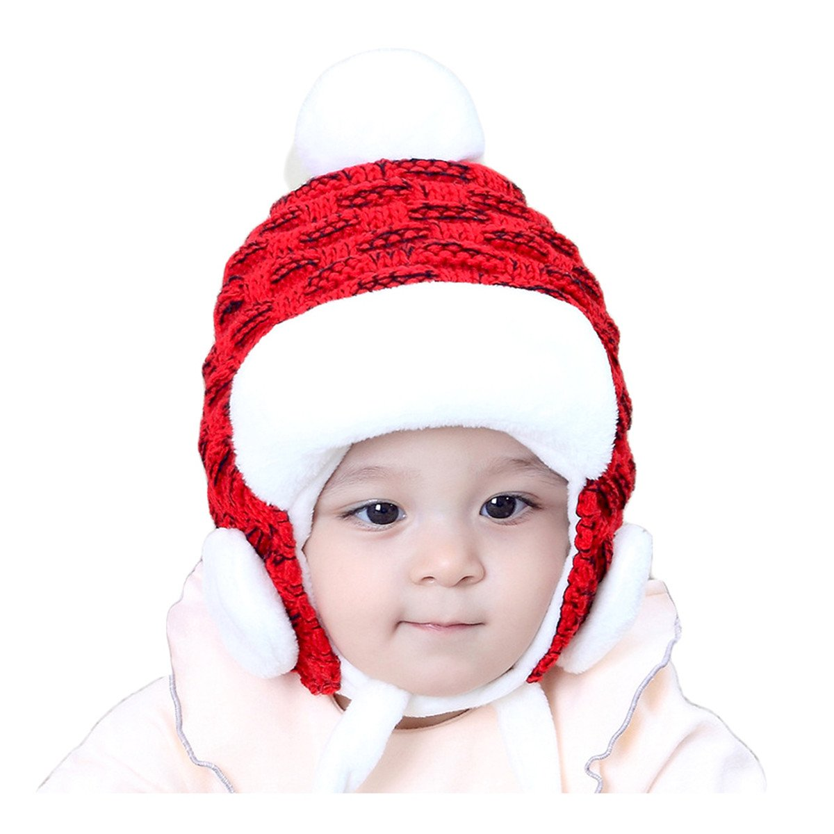 Fighting to Achieve Winter Korean Style Cute Lei Feng Cap Hair Ball Decor Warm Knit Hat for Children