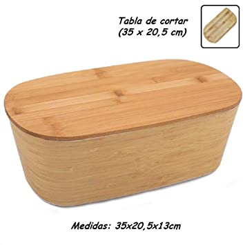 Panera Bambu con Tapa ♻ Panera de Fibra Bambú con Tabla de Cortar (Madera Bamboo) - Caja de Mesa Grande para Guardar Pan - Recipiente Ecologico para ...