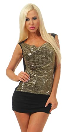 ac8613484cd OSAB-Fashion 3982 Damen Mini Kleid Abendkleid Cocktail Party Pailletten  Clubwear Gold (schwarz-