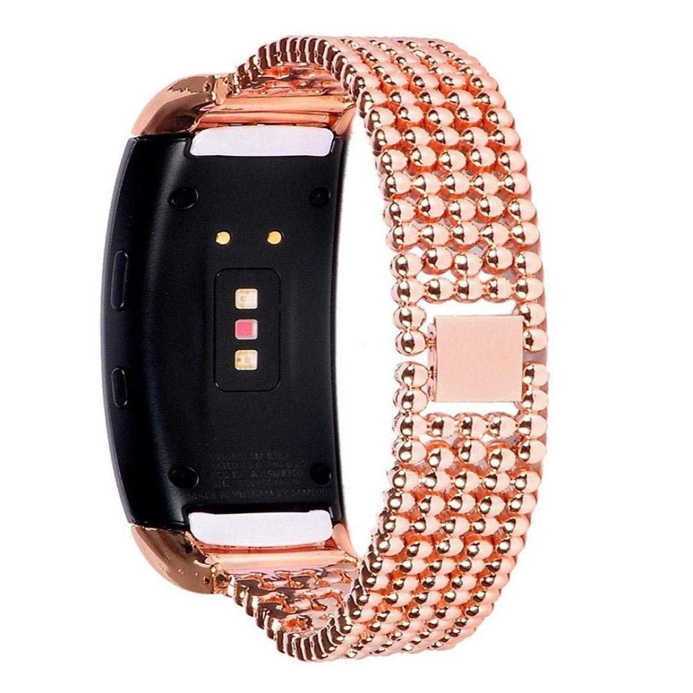 Fashion Clearance! Noopvan for Samsung Gear Fit 2 Pro Straps, Adjustable Stainless Steel Watch Band Accessory Replacement Strap for Samsung Gear Fit2 Pro Fitness (Rose Gold)