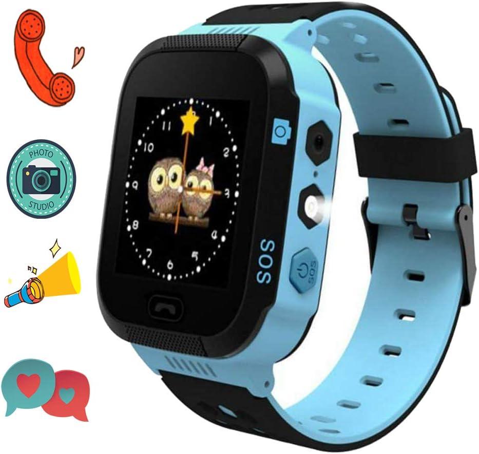 Winnes Reloj Inteligente para niños, LBS Tracker Telefono de Alarma SOS Relojes de Pulsera Cámara Pantalla táctil Reloj móvil Smartwatch para niños niña de 3-12 años T09 (Azul)
