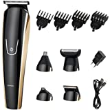 SMACRK Father's Day gift Cordless 5 in 1 Multi-functional Hair clippers electric Hair trimmers with Scissors Combs Rotary Motor Quiet Home Barber Fade Clipper Nose Hair Clipper (Black)