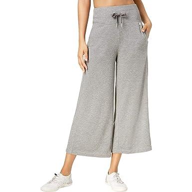 e3933d0a5de6f Calvin Klein Women s Performance High-Waist Wide-Leg Cropped Pants Heather  Grey Small