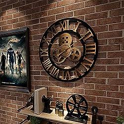 Framy Wall Clock 3D Retro Rustic Decorative Luxury Art Big Gear Wooden Vintage Large Handmade Oversized Wall Clock,a,15.7in