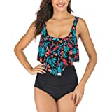 CLUCI Swimsuits for Women Two Piece Tankini Flounce Top Tummy Control High Waisted Bottom Swimming Bathing Suits Bikini…