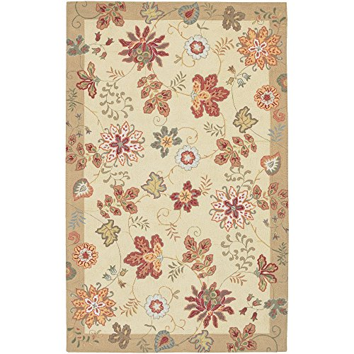 Surya Flor FLO-8903 Transitional Hand Hooked 100% Wool Antique White 2' x 2'9