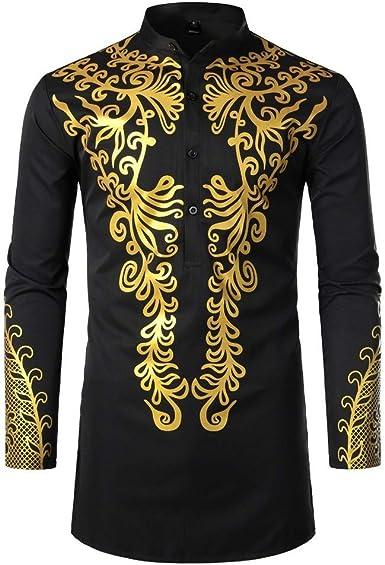 Camisas Hombres, Dragon868 Cuello de Estilo Africano para Hombre Traje Largo Casual Camisas de Manga Larga con Estampado Africano Camisa de Cuello Alto Blusa Tops, S-XXL: Amazon.es: Ropa y accesorios