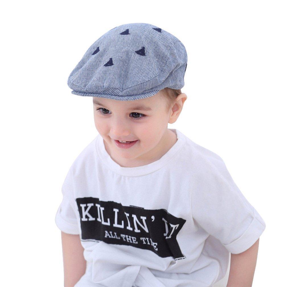 f9a0bf5c Amazon.com: jerague Baby Toddler Kid Newsboy Hat Flat Stripe Driver Cap  Duckbill Cap: Clothing