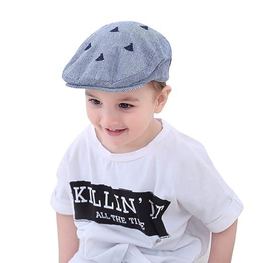7955e36e HUIXIANG Baby Toddler Kids Newsboy Hat Flat Embroidery Stripe Duckbill  Driver Cap