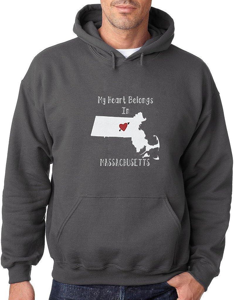 VISHTEA My Heart Belongs in Massachusetts Hoodie Massachusetts State Home Sweatshirt