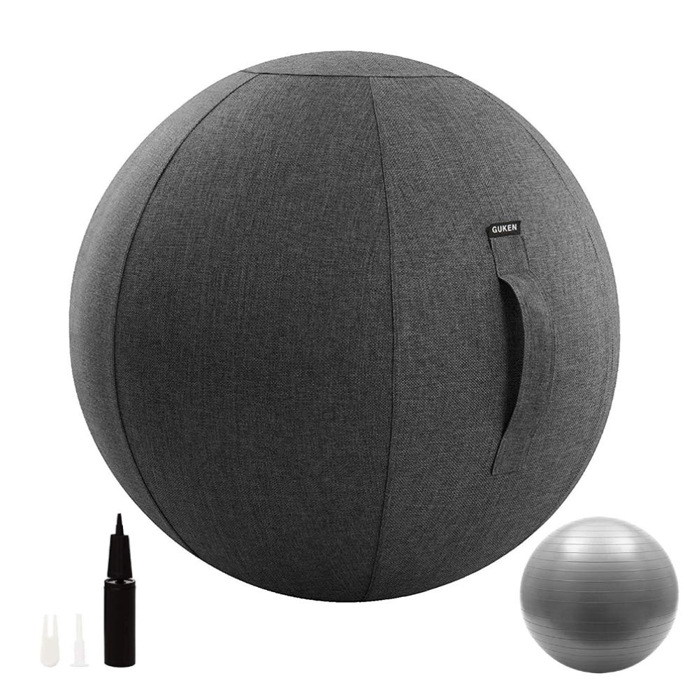 Guken Sitting Ball Chair with Cover, Exercise Yoga Ball for Office and Home Muscle Training Fitness,Stability Ball with Pump and Handle (Gray, 75cm) by Guken