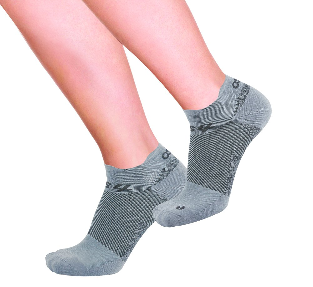OrthoSleeve FS4 Orthotic Socks (Pair) for Plantar Fasciitis Relief, arch support and foot health featuring patented FS6 technology (Medium, No-Show Light Grey)