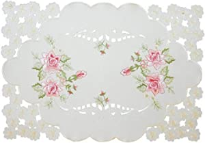 Xia Home Fashions Bloom Embroidered Cutwork Floral Placemats, 12 by 18-Inch, Set of 4