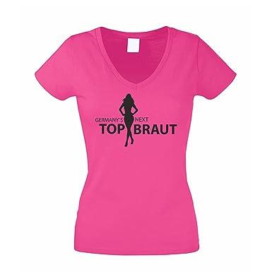 Damen V-NECK T-Shirt - Germany s Next Top Braut  Amazon.de  Bekleidung 61372dcd75