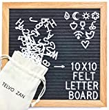 Black Felt Letter Board 10x10 Oak Frame.Changeable Letter Board With 590 Characters&2 Free Canvas Bags,Wall Mount