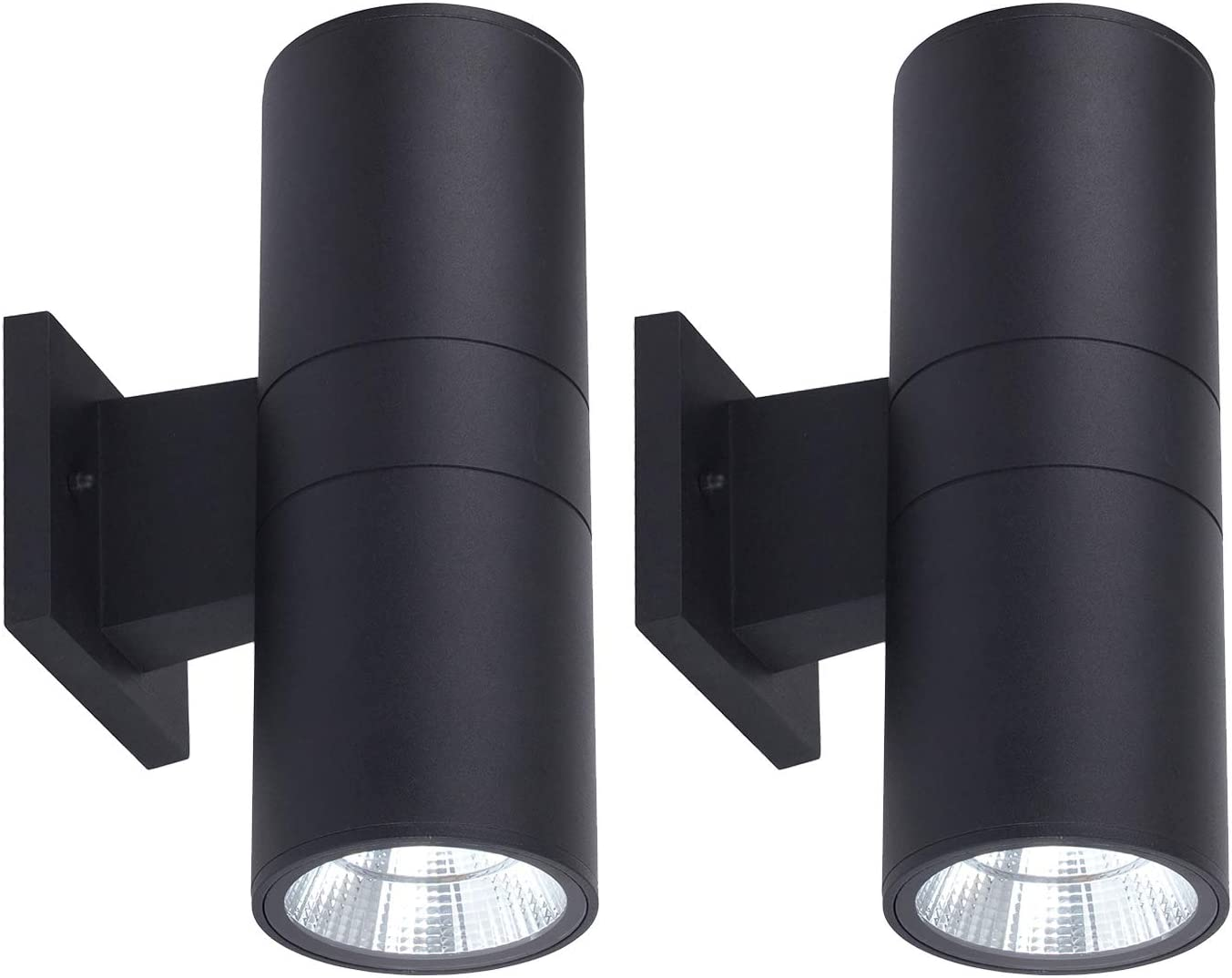 OSTWIN 18W Integrated LED Up Down Wall Light 1482Lm 120V Cylinder Outdoor Porch Lights 5000K Daylight, Waterproof 2-Direction Modern Light Fixture for Door Way, Patio Light, 120W Equiv,2 Pack