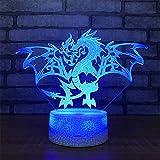 Lovely Visual Fire Dragon 3D Touch Optical Illusion Night Light Crackle Paint Base 7 Colores Que cambian al Lado de la Mesa Desk Deco Lamp Bedroom Nightlight Juguete de Regalo con acrílico Plana