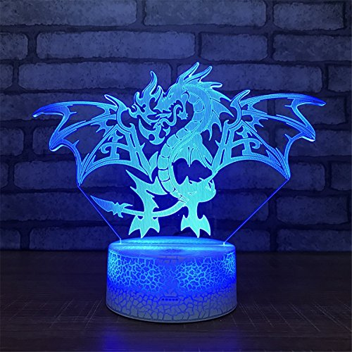 - Lovely Visual Fire Dragon 3D Touch Optical ILLusion Night Light Crackle Paint Base 7 Colors Changing Beside Table Desk Deco Lamp Bedroom Nightlight Toy Gift with Acrylic Flat