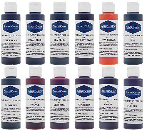 Food Coloring Americolor Kit - 12 Soft Gel Paste Colors - 4.5 Ounce Bottles