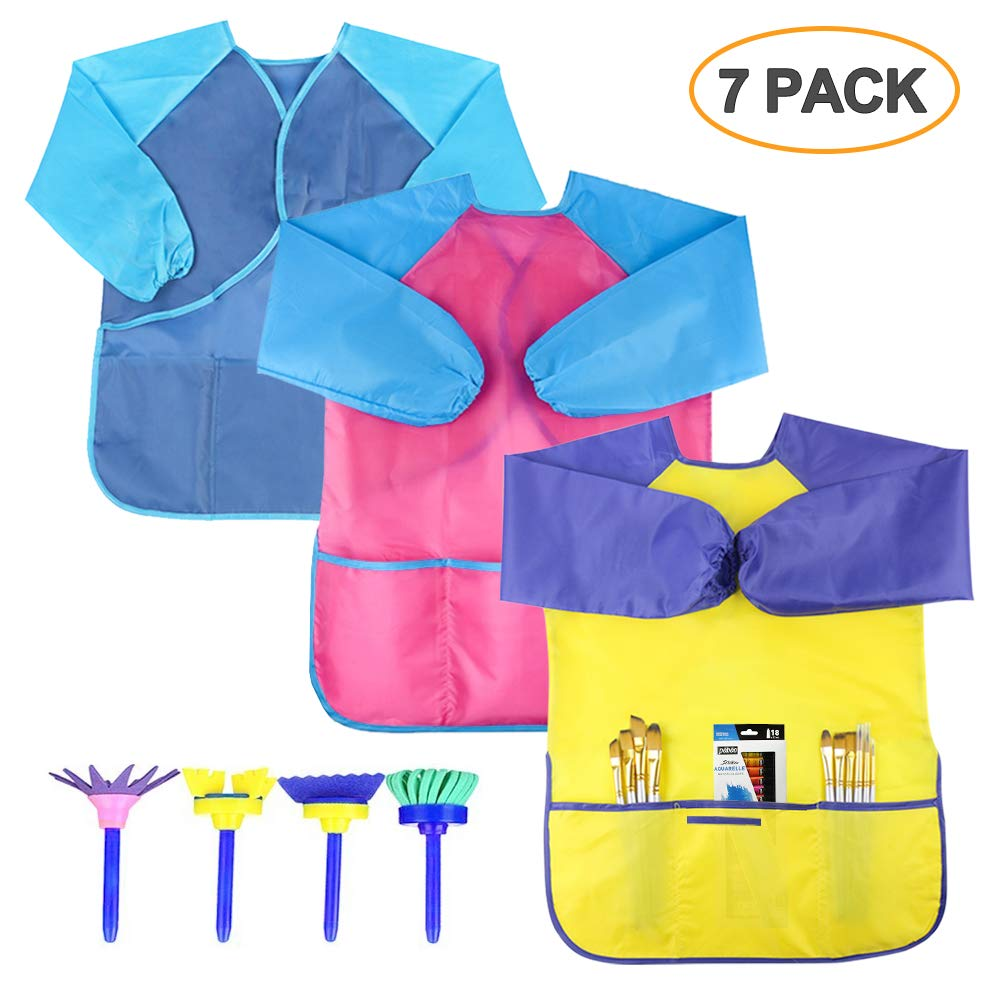 SIMPZIA 3 Pack Kids Art Smock, Children Waterproof Artist Painting Aprons with 4 Paint Brushes for Art Craft Cooking Lab Activity - Ages 2-6 Simmper