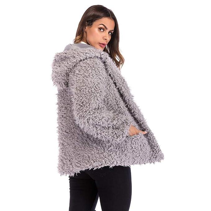 Amazon.com: DICPOLIA Women Jacket Hooded Sweatshirt Coat Winter Warm Wool Pockets Cotton Coat Outwear: Clothing