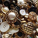 """Fancy & Decorative {Assorted Sizes} Approx 100 Pack Mix of """"Flat & Shank"""" Sewing & Craft Buttons Made of Metal & Plastic w/ Elegant Random Metallic Detailed Shapes Design {Gold, Black & White}"""