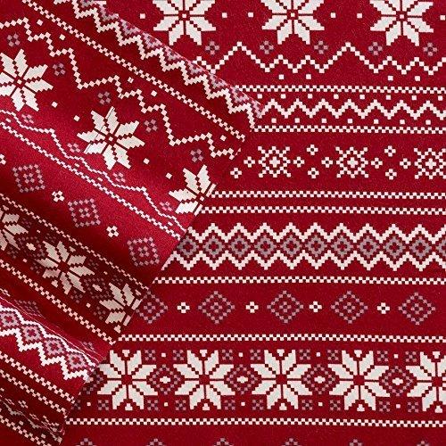 Cuddl Duds Heavyweight 3-Piece Flannel Sheet Set, Red Scandinavian Fair Isle Design, (Twin)