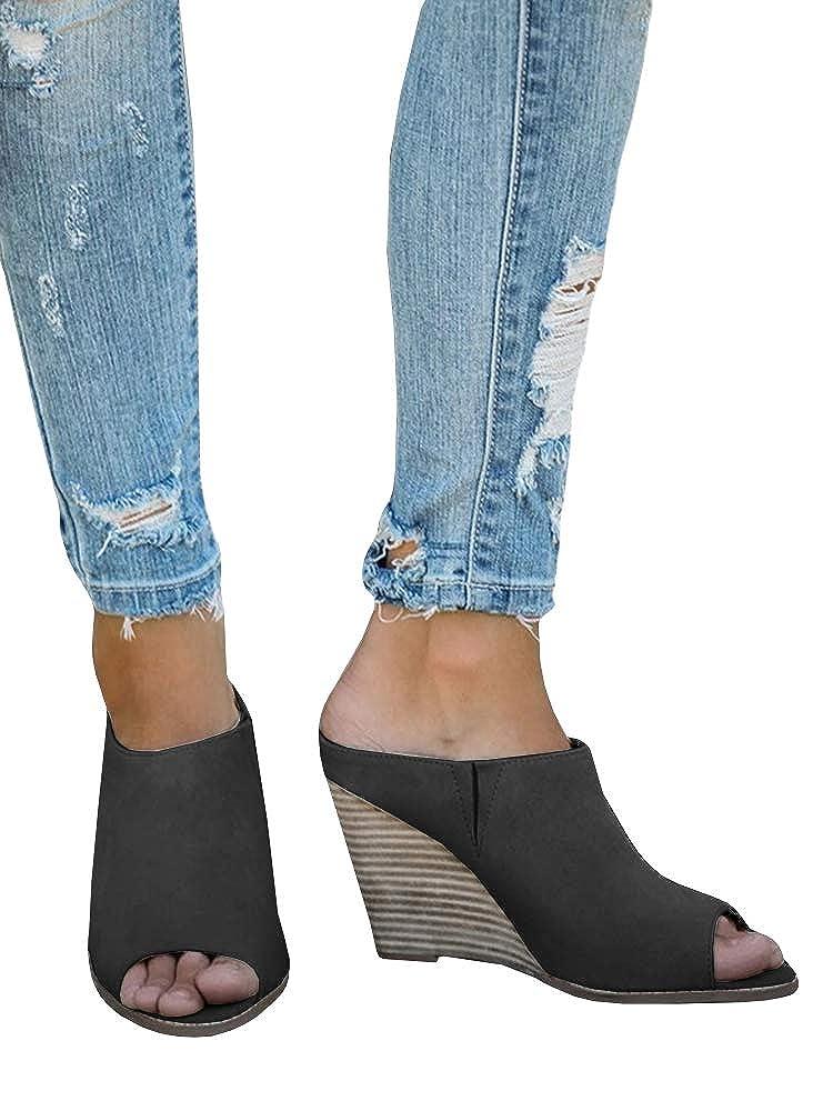 Womens Platform Espadrille Wedge Slide Sandals Bowtie Knot Open Toe Slip on Summer Mules Shoes