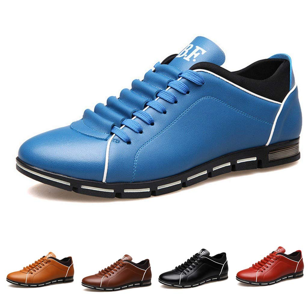 Mysky Fashion Men Classic Pure Color Business Soft Flat Shoes Men Casual Lace Up Outdoor Round Toe Shoes
