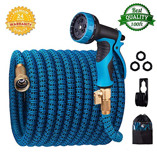 (monyar Garden Hose Expandable Water Hose 100 Feet,Extra Strength/No-Kink Lightweight/Durable/Flexible/10 Function Spray Hose Nozzle 3/4 Solid Brass Connectors Garden Hose for Watering/Washing)
