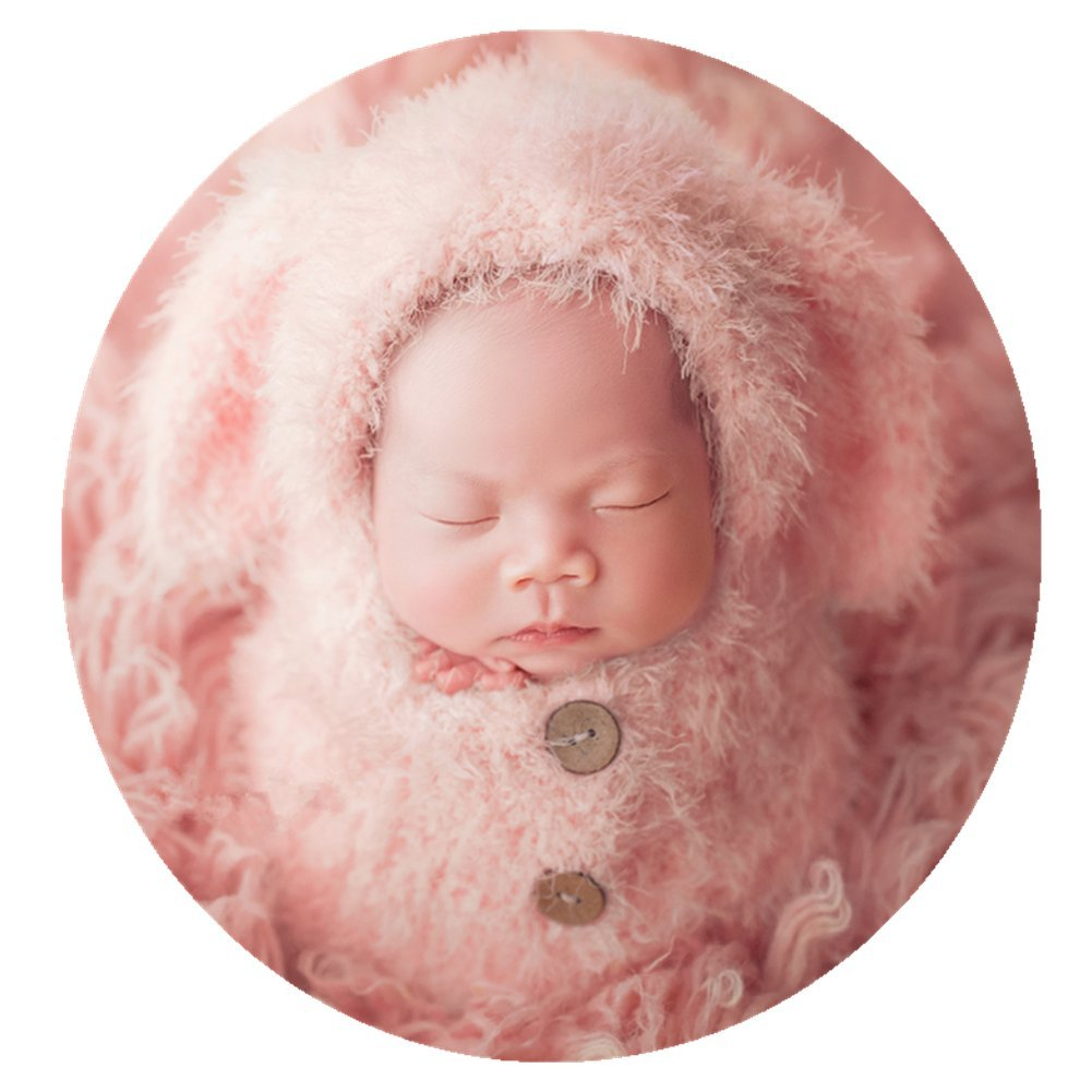 Newborn Baby Photography Prop Boy Girl Photo Shoot Outfits Crochet Knit Cute Christmas Bunny Hat Photo Props Easter Costume (Style Three)