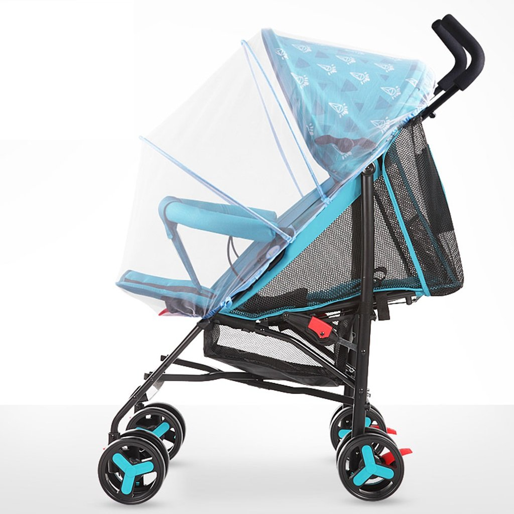 HAIZHEN マウンテンバイク 軽量折り畳み式が座ることができるベビーカート/蚊帳を広げるシート炭素鋼EVA発泡ショックアブソーバーホイールベビーカー38 * 61 * 102センチメートルで嘘の子供のトロリー完全なネットワーク換気調節可能なオーニング 新生児 B07DL9ZDW8 青 青