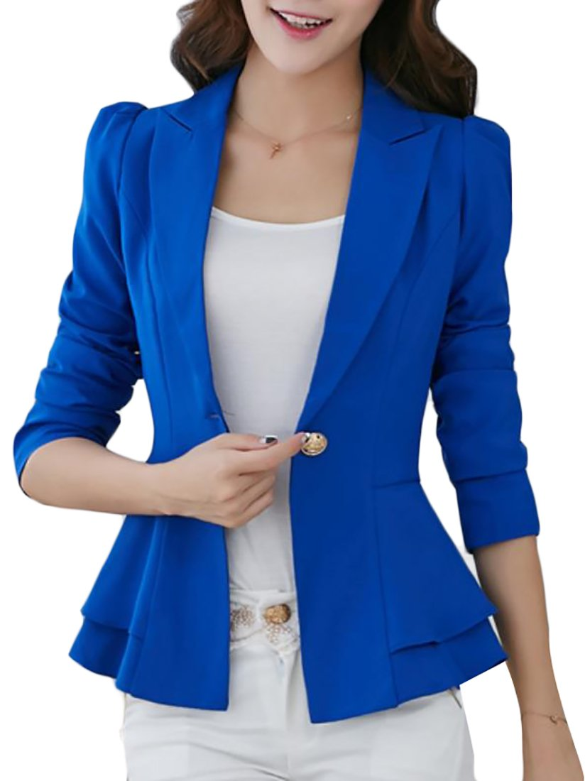 ARRIVE GUIDE Womens Slim One Button Lapel Work Office Blazer Jacket Coat Jewelry Blue XL