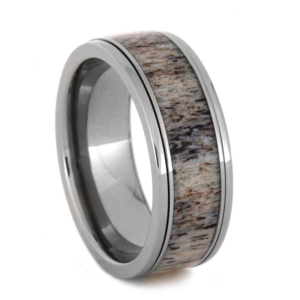 Deer Antler Spinner Ring, 8mm Comfort-Fit Titanium Ring, Size 14.25