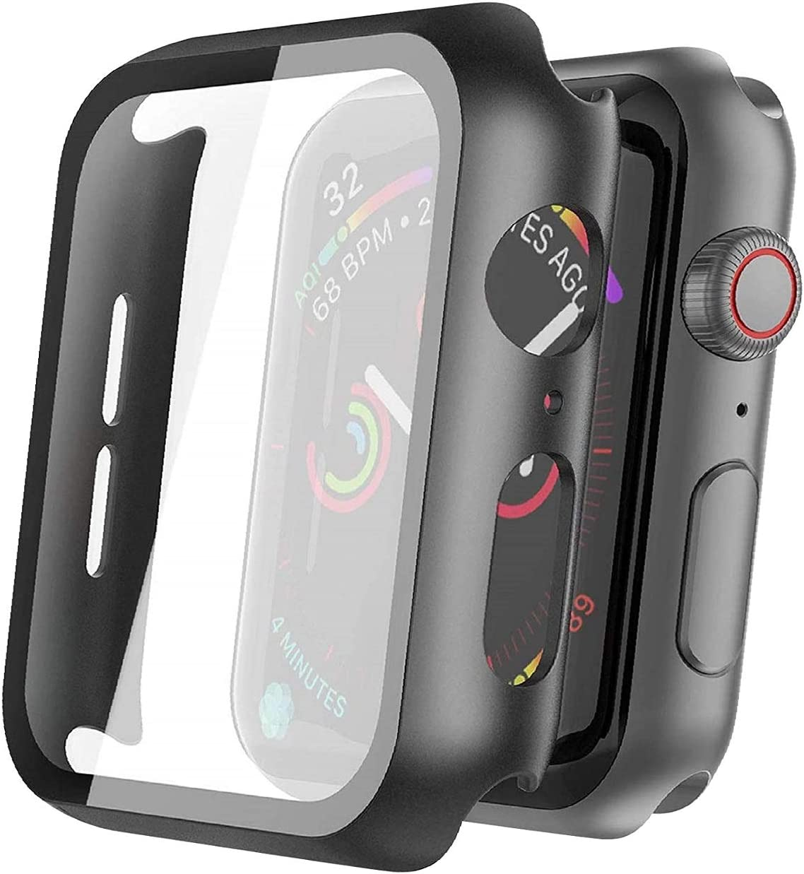 Apple Watch ScreenProtector, Hard PC Case with HD Clear Tempered Glass Screen Protector, Overall Protective Cover Compatible with Apple Watch Series 6 SE Series 5 Series 4 40mm (Black)