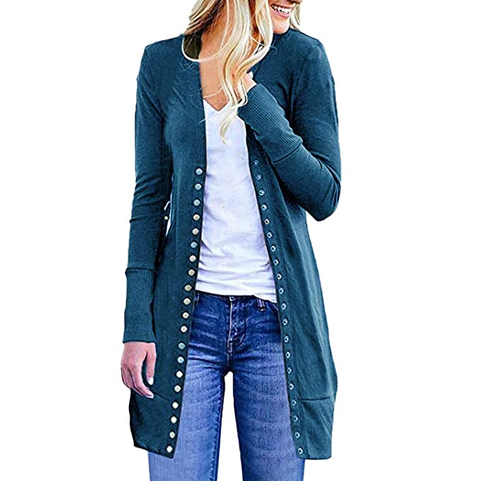 best website 72ee9 0a48f ZIYOU Damen Strickjacke Herbst Winter Langarmshirt Strickmantel Long  Cardigan Slim fit Wasserfall Jacke