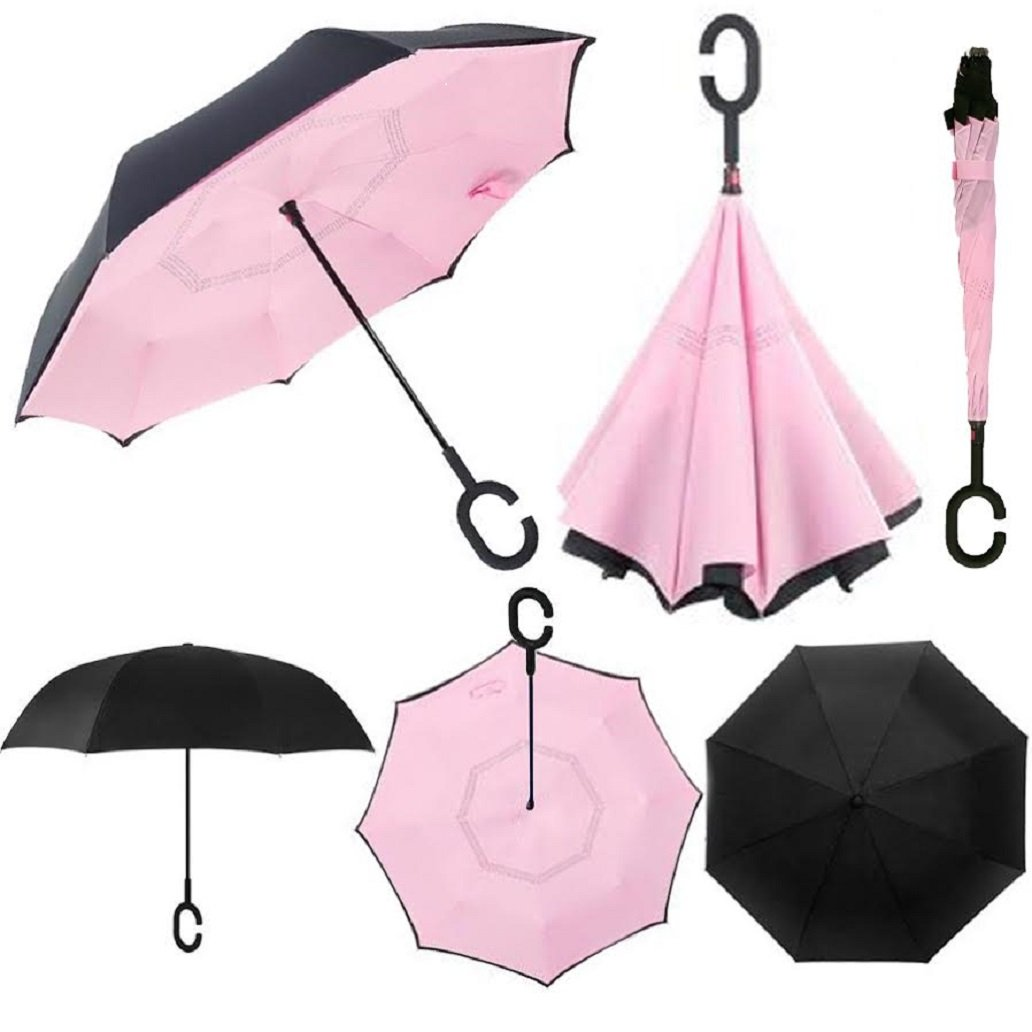 Swisstek Double Layer Reversible Smart Umbrella - Quick Dry Technology - Dual Layer Design - UV Protection Layer - Windproof & Waterproof - Stands On Its Own - Convenient C Grip (Pink)