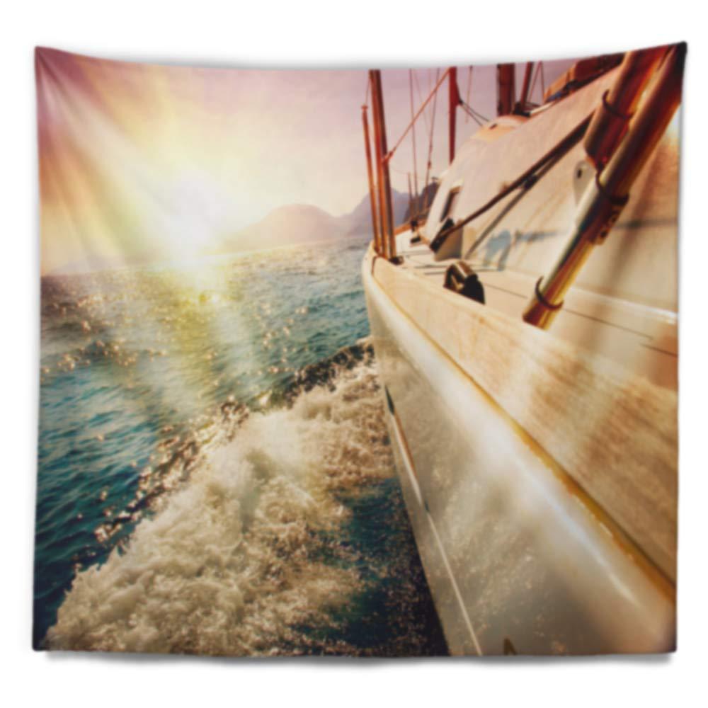 Designart TAP10598-39-32 Huge Yacht Sailing Against Sunset Wall Tapestry Medium//39 x 32