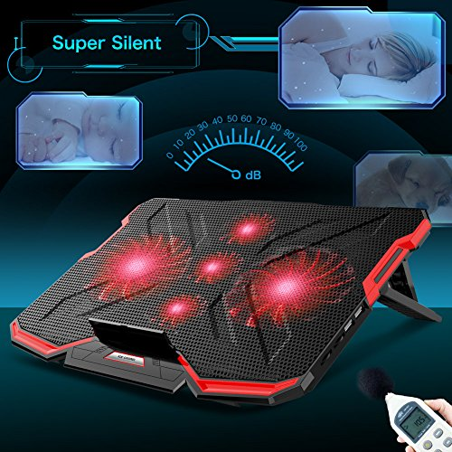 5 Fans Laptop Cooler, Portable Ultra-Slim Cooling Pad, with Red LED Light, Dual USB 2.0 Ports, Adjustable Mount Stand, Super Quiet and Strong Wind Speed Designed for Gamers and Office by Mkocean (Image #2)